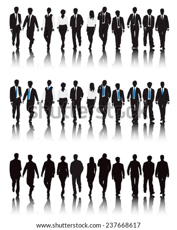 Vector of multi-ethnic business people walking.