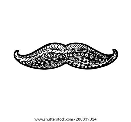 Vector of Mustache in zentangle style - stock vector
