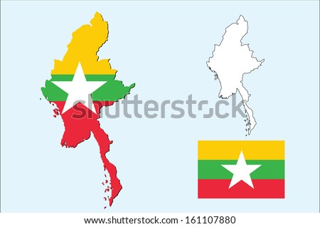 vector of myanmar map wte the flag