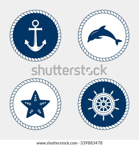Vector of Nautical and marine icons, design element. Vector nautical elements. Sea leisure sport. Symbol of sailors, sail, cruise and sea. Set of marine icons. Rope swirls, logos and badges. - stock vector