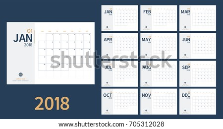 Vector of 2018 new year calendar in clean minimal table simple style and blue and yellow color,Holiday event planner,Week Starts Sunday,A5 size.