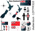 Vector of New Zealand set with detailed country shape with region borders, flags and icons - stock photo