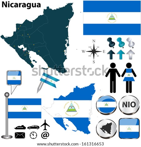 Vector of Nicaragua set with detailed country shape with region borders, flags and icons
