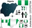 Vector of Nigeria map with flag, coat of arms and other icons on white - stock photo