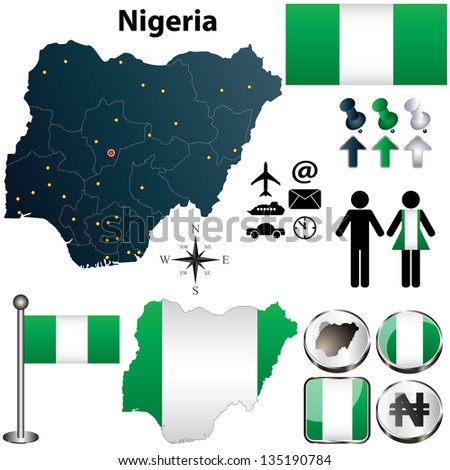 Vector of Nigeria map with flag, coat of arms and other icons on white - stock vector