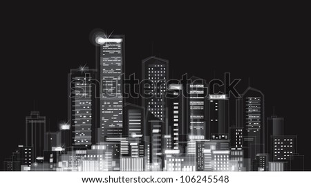 Vector of night city skyline - stock vector