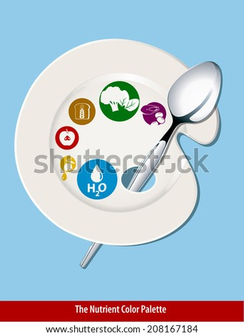 Vector of Nutrient color plate. Clean Eating Concept. - stock vector