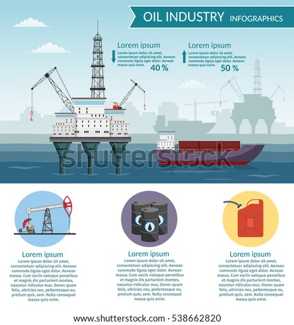 Vector of Oil rig industry processing petrol and transportation infographics set production elements.