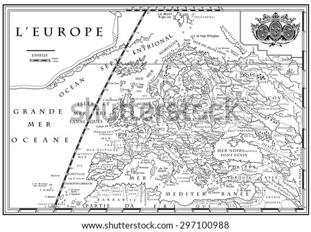 Vector of old European map with coordinate system, XVIII century - stock vector