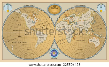 Vector of old globe, map of world with new discoveries of 1799 - stock vector