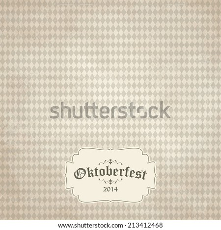 vector of old vintage background with checkered pattern and patch Oktoberfest 2014