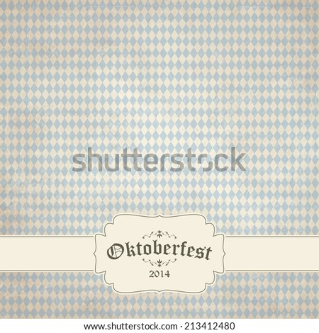 vector of old vintage background with checkered pattern and patch Oktoberfest 2014 - stock vector