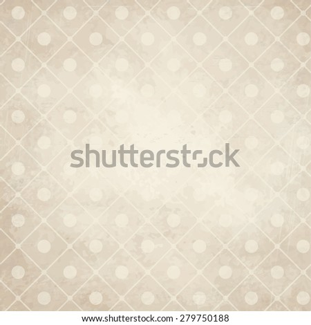 vector of old vintage paper background with points on checkered pattern - stock vector