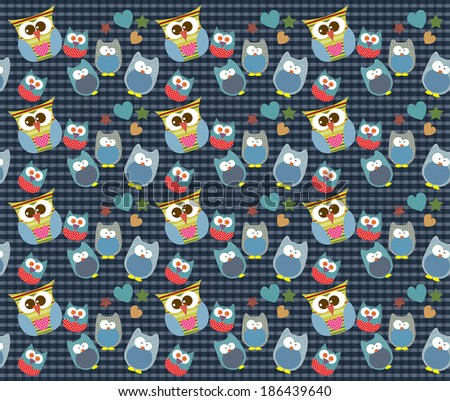 Vector of owl pattern for kids with Background - stock vector