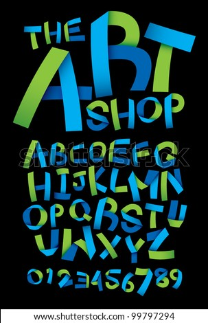 vector of paper crafting alphabets - stock vector