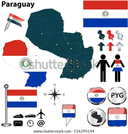 Vector of Paraguay set with detailed country shape with region borders, flags and icons