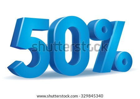 Vector of 50 percent in white background - stock vector