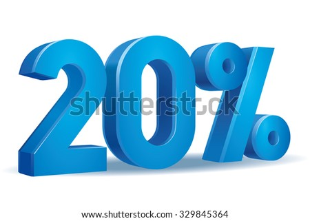 Vector of 20 percent in white background - stock vector
