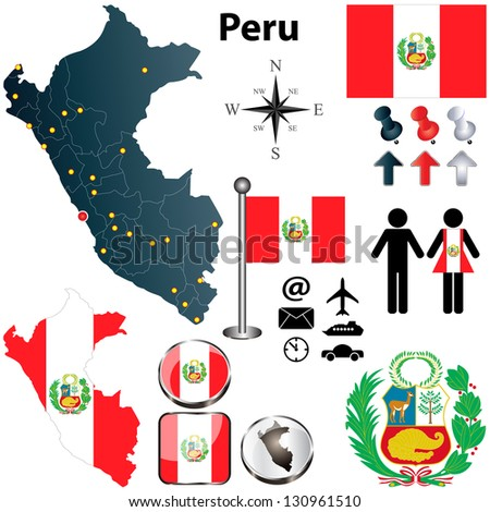Vector of Peru set with detailed country shape with region borders, flags and icons - stock vector