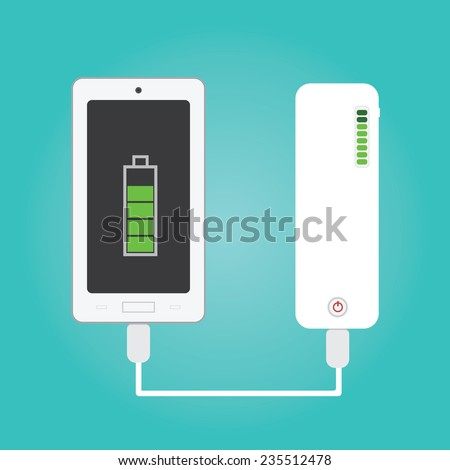 Vector of phone charging and Power bank - stock vector