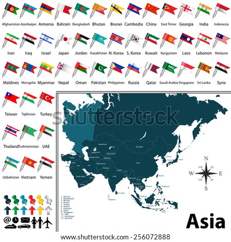Vector of political map of Asia set with buttons flags on white background