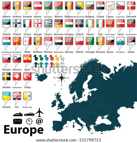 Vector of political map of Europe set with buttons flags on white background