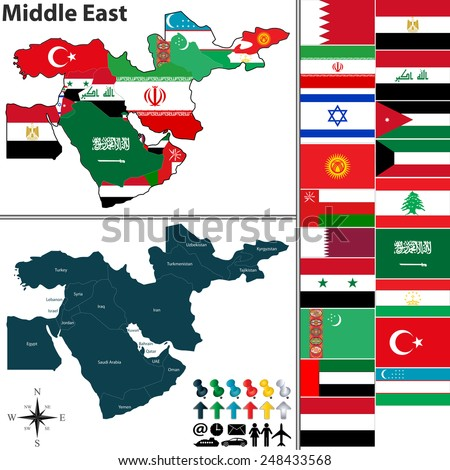 Vector of political map of Middle East set with flags on white background - stock vector