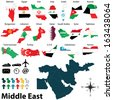 Vector of political map of Middle East set with maps and flags on white background - stock photo