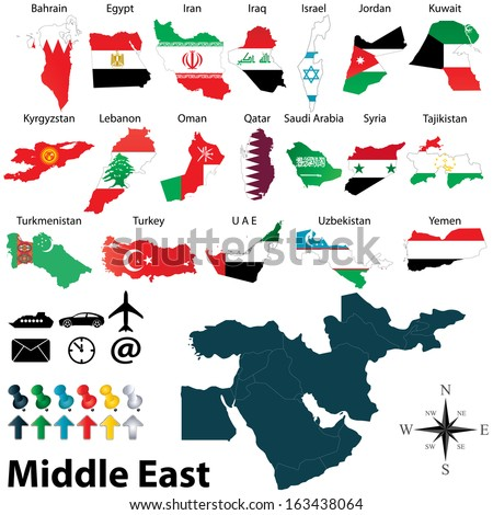 Vector of political map of Middle East set with maps and flags on white background - stock vector