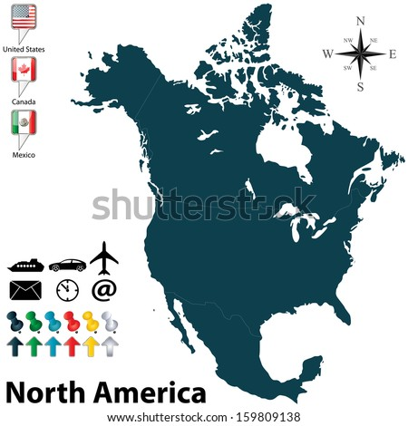 North America Map Stock Images RoyaltyFree Images Vectors - Us canada mexico provinces map