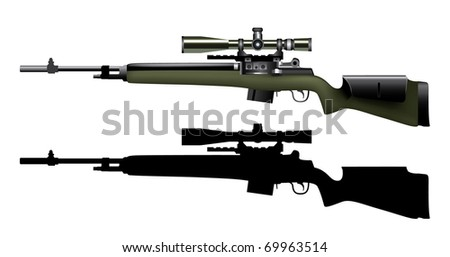 Vector of realistic sniper rifle - stock vector