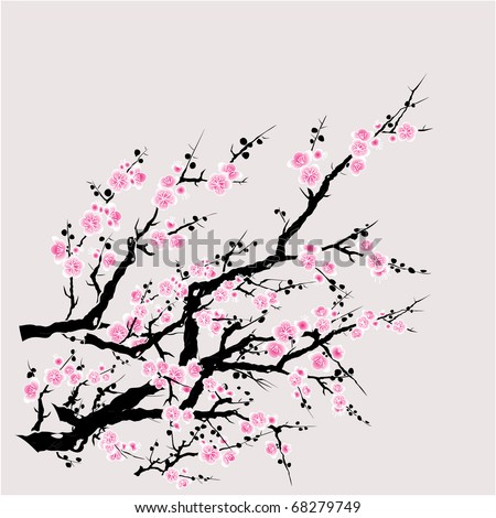 vector of red plum tree.