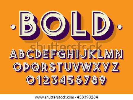 Vector of retro font and alphabet - stock vector