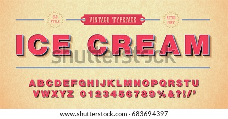 Vector of retro font and alphabet. 3d style