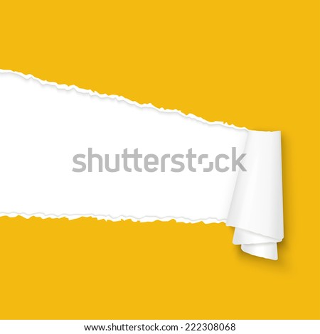vector of ripped open paper colored orange - stock vector