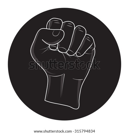 vector of rising fist in black circle. call to fight and revolution.