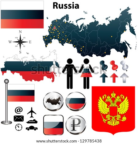 Vector of Russia set with detailed country shape with region borders, flags and icons - stock vector