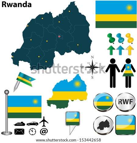 Vector of Rwanda set with detailed country shape with region borders, flags and icons - stock vector