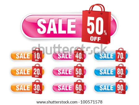 vector of Sale or discount tag for price list in shopping bag shape
