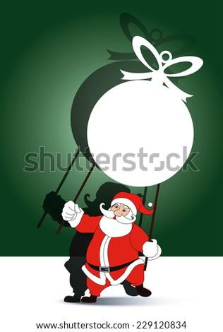 Vector of santa holding with grand shadow play christmas ball banner