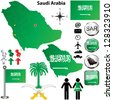 Vector of Saudi Arabia set with detailed country shape with region borders, flags and icons - stock photo