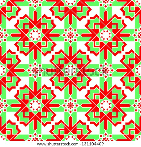 Vector of seamless Islamic pattern in red and green colors