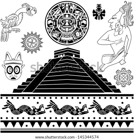 Vector of set of ancient American ornaments on white - stock vector