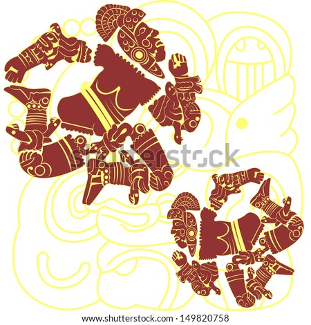 Vector of set of mayan and aztec warriors on white - stock vector