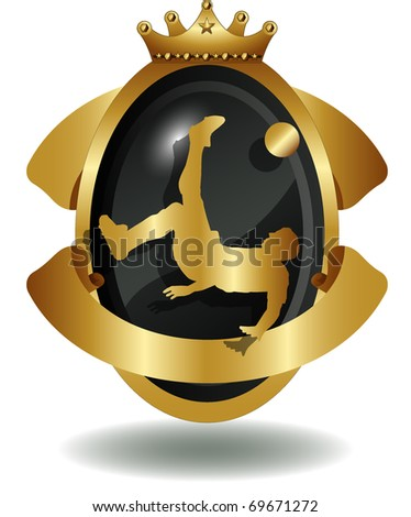 vector of shield of soccer player's silhouette - stock vector