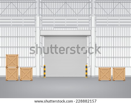 Vector of shutter door or roller door and concrete floor inside factory building use for industrial background.