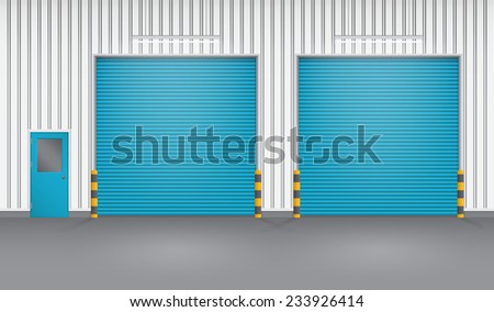 Vector of shutter door or roller door and concrete floor outside factory building use for industrial background.