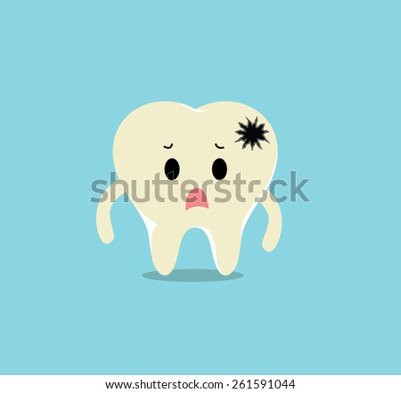 Vector of Sick yellow dirty tooth with crack for Healthcare  - stock vector