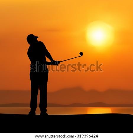 Vector of Silhouette golfer against sunset - stock vector