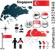 Vector of Singapore set with detailed country shape with region borders, flags and icons - stock vector